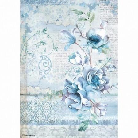 stamperia-papier-ryzowy-a4-blue-land-niebieski-kwiat