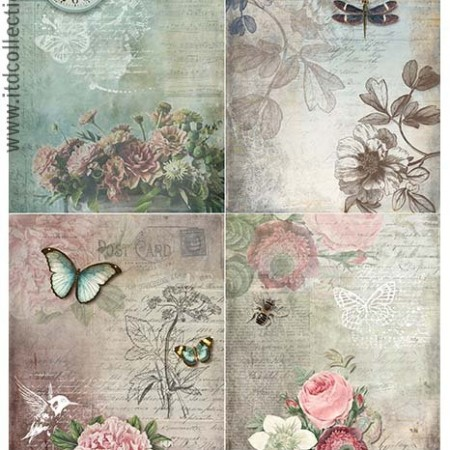 Papier ryżowy do decoupage ITD R1064 A4
